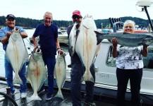 Halibut and salmon caught in Sooke rain or shine